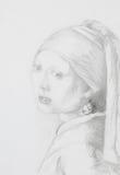 Flicka med det pärlemorfärg örhänget, blyertspennateckning royaltyfri illustrationer