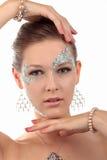 Flicka med diamantsmink Arkivfoto