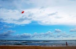 Flicka med draken på stranden arkivbilder