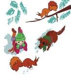 Flicka med ekorren och hunden i snön vektor illustrationer