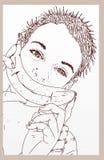 Flicka med en banan Arkivfoton