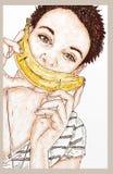 Flicka med en banan Royaltyfria Bilder