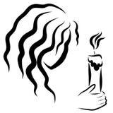 Flicka med en brinnande stearinljus i hand royaltyfri illustrationer