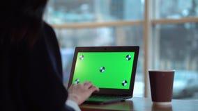 Flicka med en grön skärm på en bärbar dator som arbetar och dricker kaffe stock video