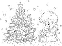 Flicka med en julgåva stock illustrationer