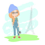 Flicka med en kamera i Paris royaltyfri illustrationer