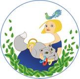 Flicka med en katt och en fågel Arkivbild