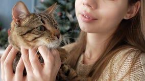 Flicka med en katt vid spisen nytt år arkivfilmer