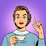 Flicka med en kopp te eller ett kaffe vektor illustrationer