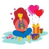 Flicka med en nallebjörn i hennes händer och gåvor för valentin dag Gåvor, bollar och förälskelsekort illustration i lägenhet arkivbild