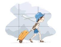 Flicka med en resväska på flygplatsen stock illustrationer