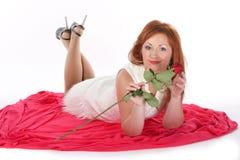 Flicka med en ro Fotografering för Bildbyråer