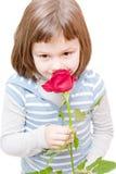 Flicka med en rose Arkivbilder