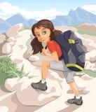 Flicka med en ryggsäck Arkivfoton