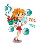 Flicka med en söt varm försäljning Fotografering för Bildbyråer