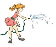 Flicka med en slang stock illustrationer