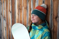 Flicka med en snowboard Arkivfoton
