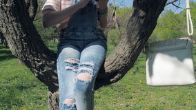 Flicka med en telefon i parkera En tonårs- flicka sitter på ett träd med en telefon En flicka i sönderriven jeans sitter på ett t stock video