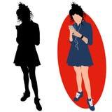 Flicka med en telefon och hörlurar vektor illustrationer