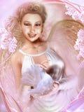 Flicka med en vitduva Royaltyfria Foton