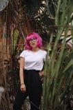 Flicka med exponeringsglas Arkivfoton