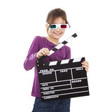 Flicka med exponeringsglas 3D och en clapboard Arkivbild