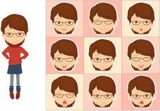 Flicka med exponeringsglassinnesrörelser: glädje överraskning, skräck, sorgsenhet, sorg Royaltyfria Bilder
