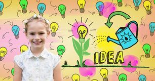 Flicka med färgrika diagram för ljusa kulor för idé Royaltyfri Fotografi