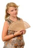 Flicka med fanen Royaltyfri Bild