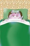 FLICKA med feber och magknip i säng Arkivbilder