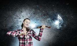 Flicka med fiolen Arkivbild