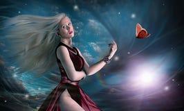 Flicka med fjärilen Arkivfoton