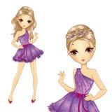 Flicka med flätade trådar i Violet Dress royaltyfri illustrationer