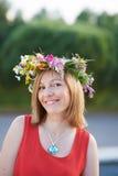 Flicka med flowers5 Arkivbild