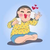 Flicka med fotografier stock illustrationer