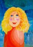 Flicka med fräknar Vattenfärgmålning av en flicka med fräknar stock illustrationer