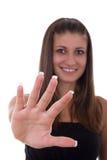 Flicka med fransk manikyr Arkivbild
