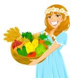 Flicka med grönsaker Fotografering för Bildbyråer
