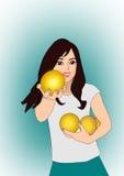 Flicka med grapefrukten Royaltyfri Bild