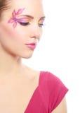 Flicka med härlig makeup Royaltyfria Bilder