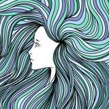 Flicka med hår för lång gräsplan och blått också vektor för coreldrawillustration arkivbild