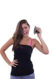 Flicka med högtalaren Royaltyfria Bilder