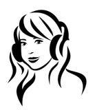 Flicka med hörlurar Royaltyfri Fotografi