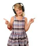 Flicka med hörlurar Arkivbilder