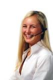 Flicka med hörlurar med mikrofon Royaltyfri Bild