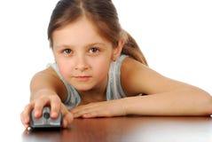Flicka med hennes datormus Fotografering för Bildbyråer