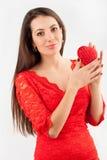 Flicka med hjärta Fotografering för Bildbyråer