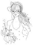 Flicka med hjärta format glasögon Royaltyfria Foton
