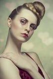 Flicka med hjärta format smink Royaltyfria Bilder