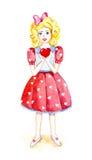 Flicka med hjärta, valentindag, vattenfärg Arkivfoton